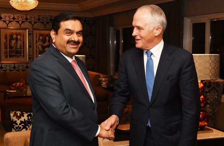Indian mining billionaire Guatam Adani with Prime Minister Malcolm Turnbull.