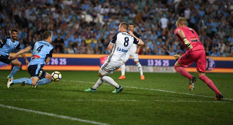 Key moment: Wilkinson blocks Besart Berisha's shot on the goal line.