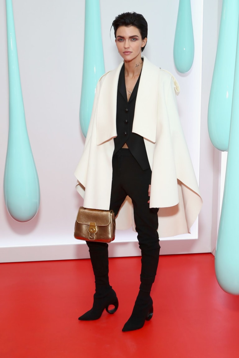 Classic is the new black ... Ruby Rose mixes up monochrome pieces with a metallic bag for a look that's modern without succumbing to trends.