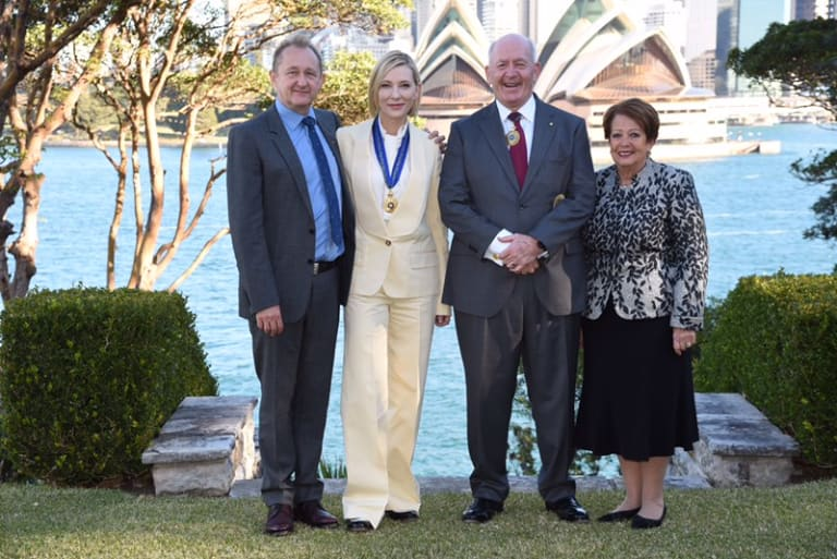 One for the good room: Andrew Upton, Cate Blanchett, Governor-General Peter Cosgrove and Lady Lynne Cosgrove at Admiralty House on Wednesday afternoon.