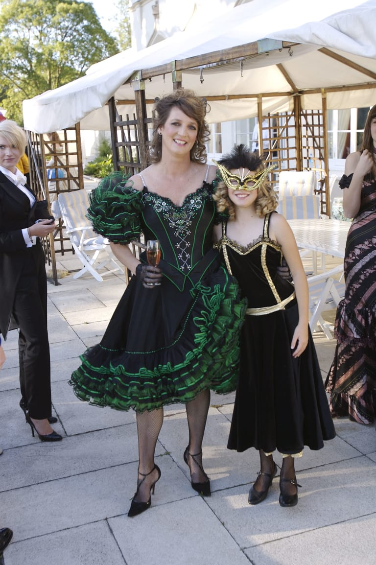 Another royal knees up - Jane Ferguson and daughter Heidi at Princess Beatrice's 21st Birthday party in 2009.