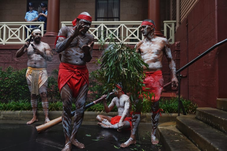 Smoking ceremony at NSW State Parliament as the Aboriginal Languages Bill is brought to the Legislative Council last October.