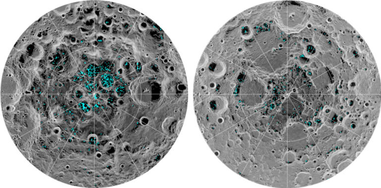 The image shows the distribution of surface ice at the Moon's south pole (left) and north pole (right), detected by NASA's Moon Mineralogy Mapper instrument.