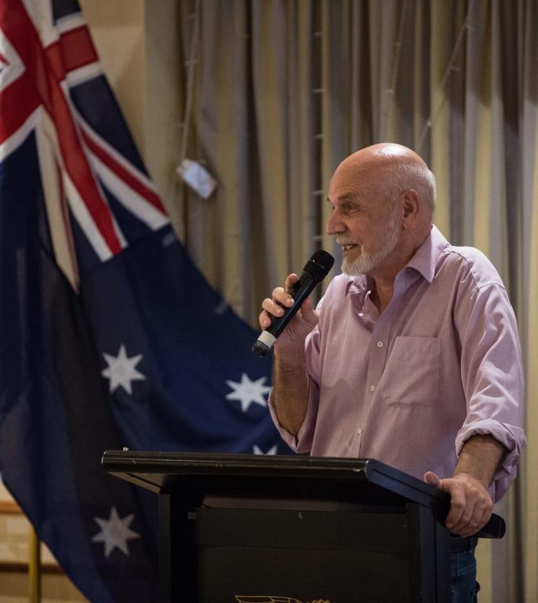 Larry Pickering speaks at a fundraiser for Kirralie Smith on Thursday.