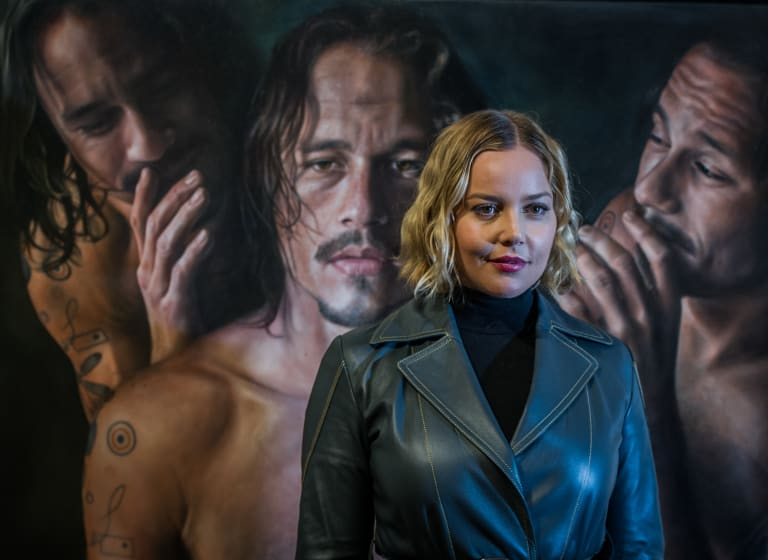 Australian actor Abbie Cornish at the opening of Heath Ledger: A Life In Pictures at the National Film and Sound Archive. Painting by Vincent Fantauzzo