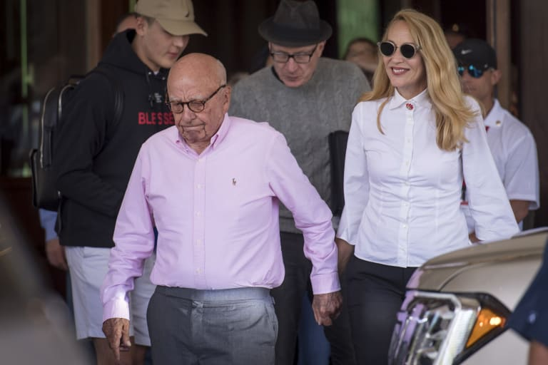 Rupert Murdoch and his wife Jerry Hall last month.