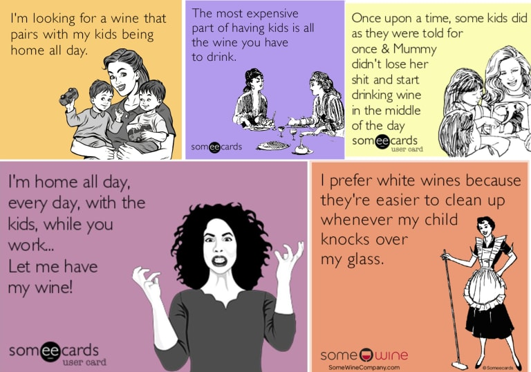 A selection of wine memes.