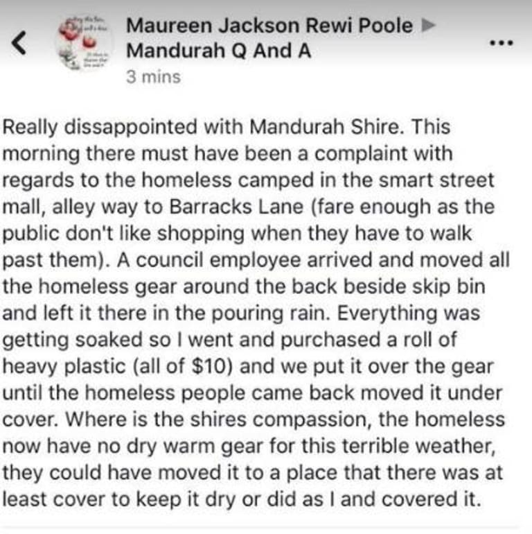 The status posted on a popular Mandurah community Facebook page.