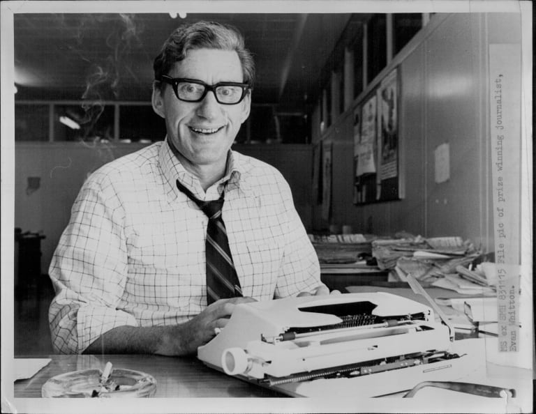 Evan Whitton, pictured at the National Times in November 1975.