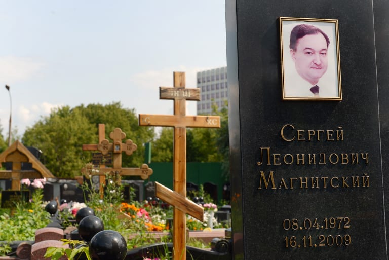 The grave of Sergei Magnitsky in the Preobrazhensky cemetery in Moscow.