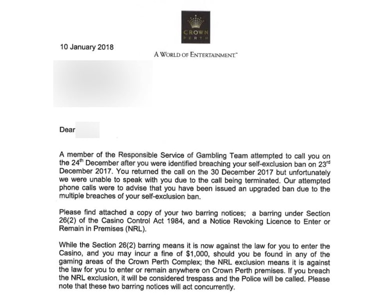 A letter escalating Jennifer's* ban from January this year.