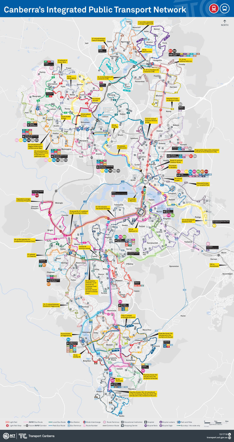 The new ACT bus network map to be announced on Tuesday.