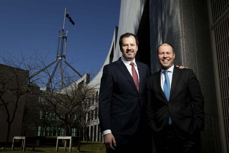 Labor frontbencher Ed Husic and the Energy and Environment Minister Josh Frydenberg in Canberra.