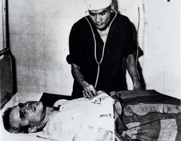 John McCain, as a prisoner of war, in a Hanoi hospital in 1967.