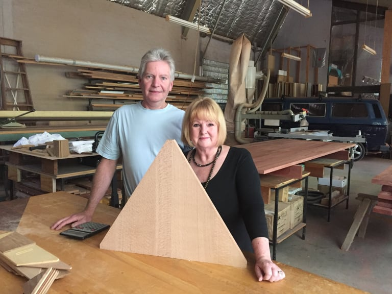 Tharwa couple Grant Rollinson and Carole Newman created the timberwork for the centre.