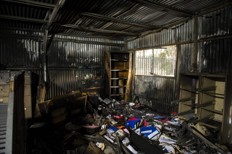 The storage shed at Woden Athletics Park, which was gutted in the alleged arson attack.