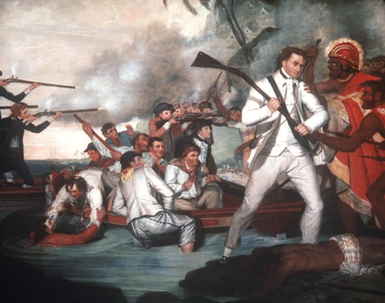 <i>Death of Captain Cook</i>, by George Carter, oil on canvas.