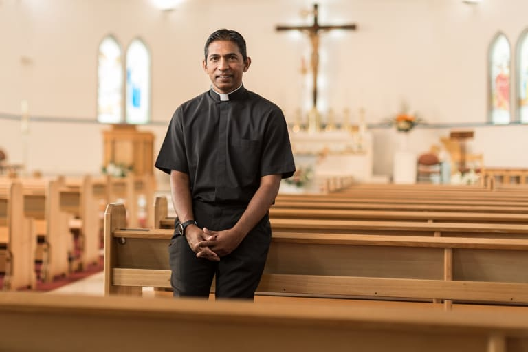 Father Dishan Candappa, Minster at the Church of the Good Shepherd in Gladstone Park.