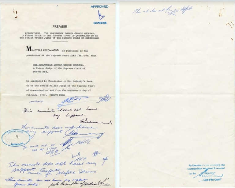 Queensland government minute of January 12, 1982 showing the Liberal Party ministers saying 'No' to Joh Bjelke Petersen.
