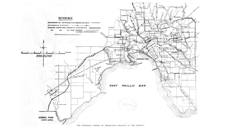 A 1892 map of Melbourne's sewers. Most of the infrastructure remains in place.