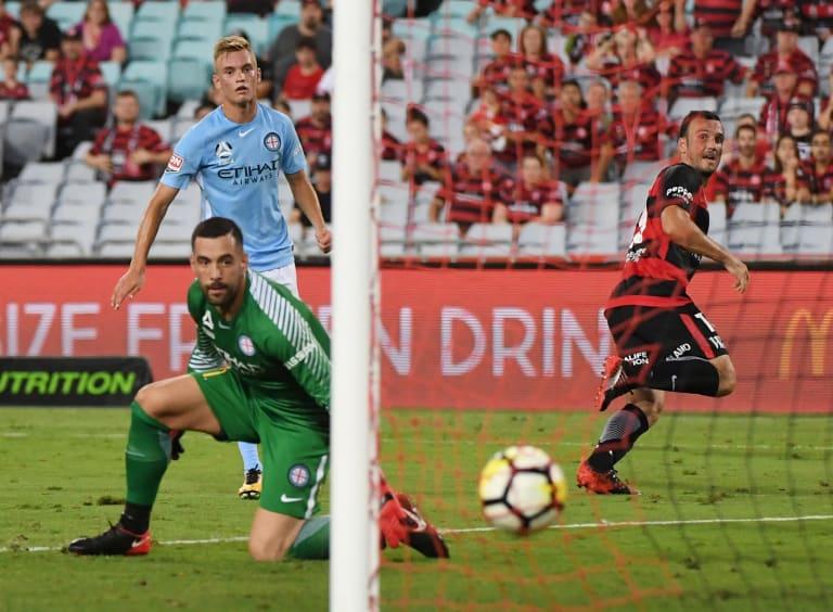 Many happy returns: Mark Bridge scores against Melbourne City earlier this season.