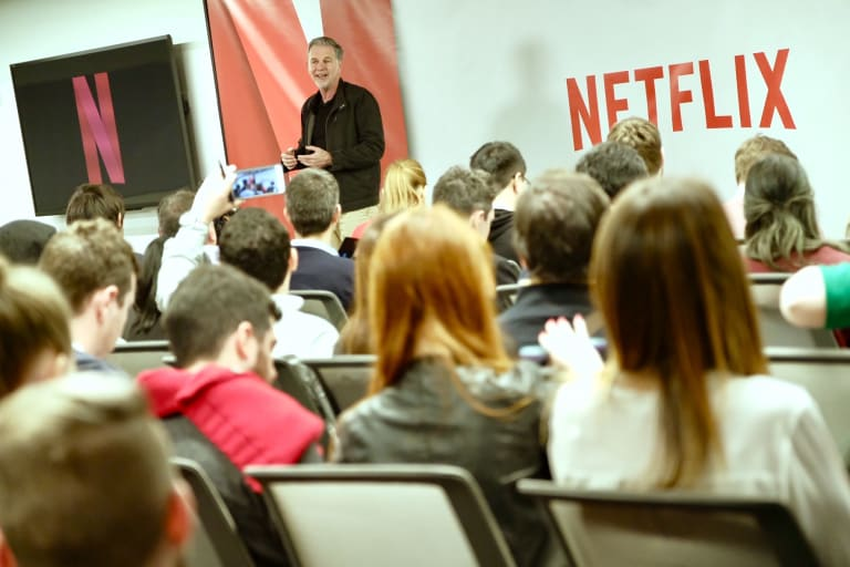 Netflix CEO Reed Hastings fronts media in LA .