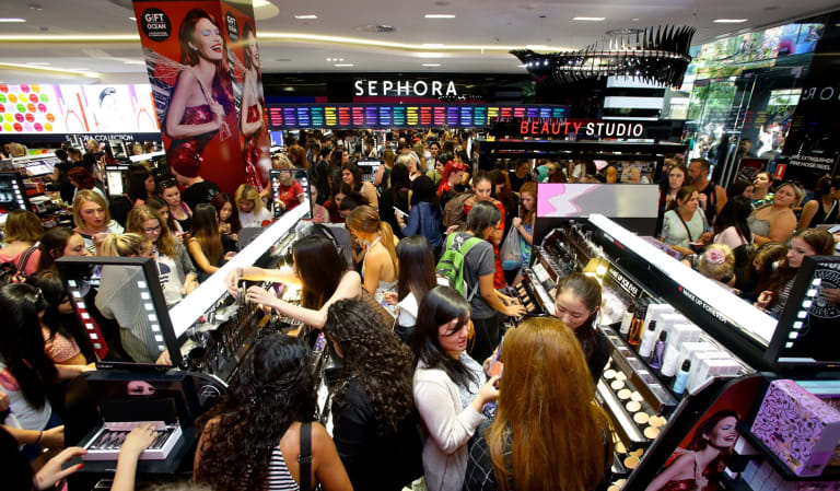 Crowds at the opening of Sephora in Sydney's Pitt Street Mall in December, 2014.