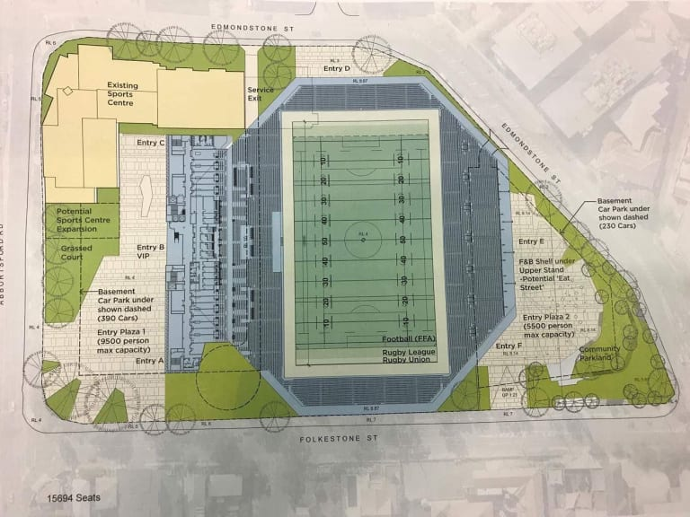 Plans for a 15,694-seat boutique stadium at Perry Park, Brisbane.