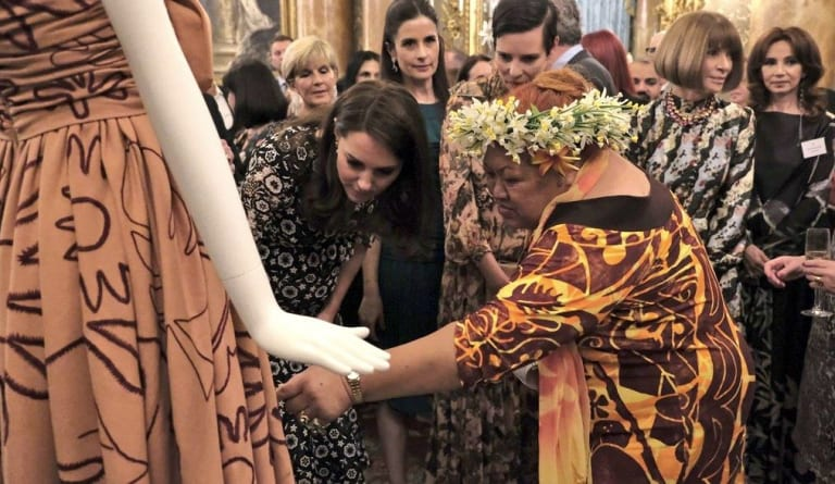 From left: Foreign Minister Julie Bishop, the Duchess of Cambridge, Livia Firth, Karen Walker, Tukua Turia and Anna Wintour at the EcoAge Commonwealth Fashion Exchange at Buckingham Palace on Monday.