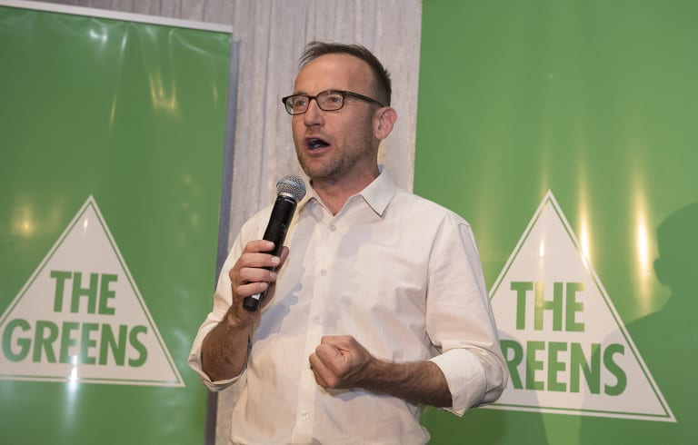 Federal Greens MP Adam Bandt addresses supporters.
