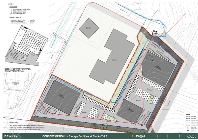 An architect's concept for a self-storage facility on the Red Hill site.