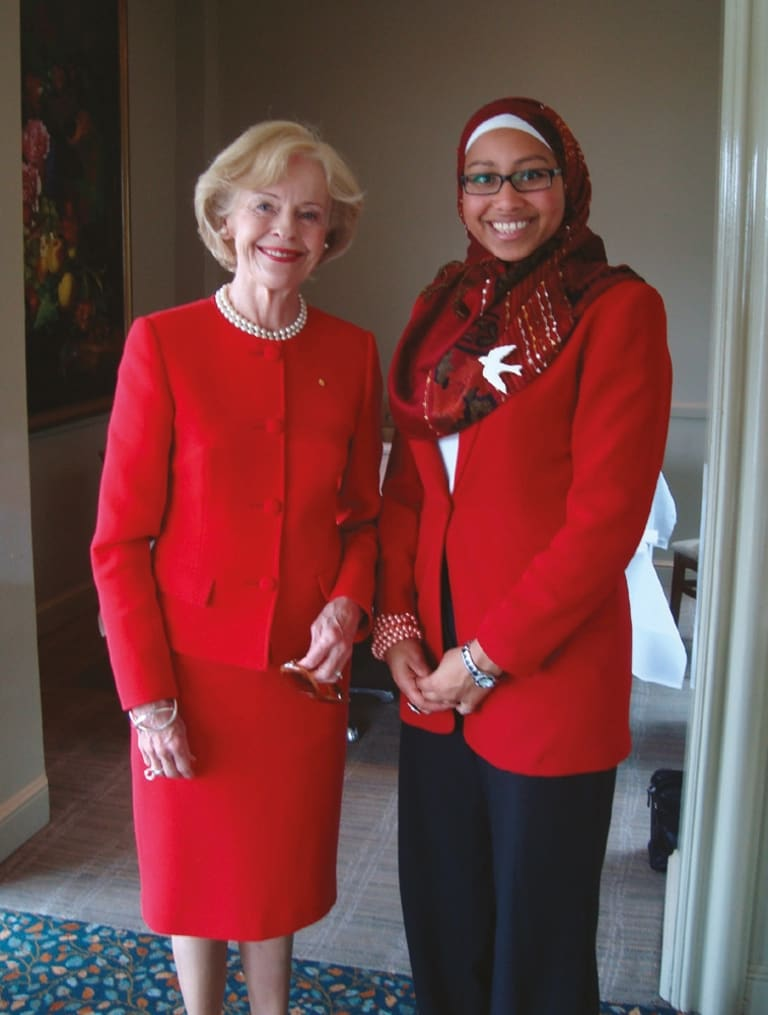 With former governor-general Quentin Bryce, whom Abdel-Magied credits as an inspiration and source of great advice.