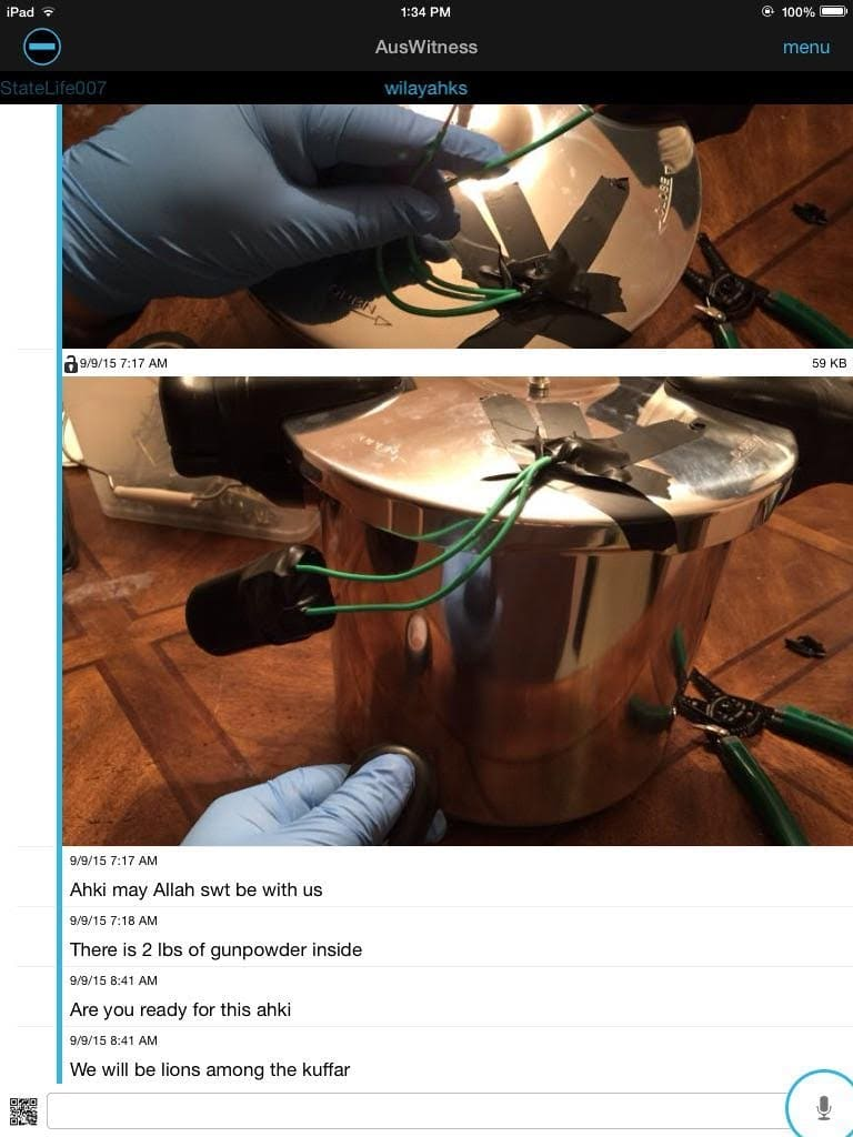 """The device appears to resemble a """"pressure cooker bomb"""", similar to the type of explosive used in the Boston Marathon attack."""