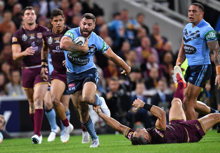 Frontrunner: Tedesco, here running over the top of Slater in game III, is odds on to be the Kangaroos\' fullback.
