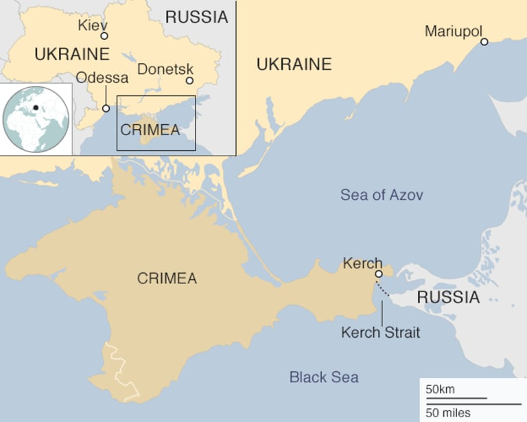 The Kerch Strait between the Azov and Black seas. A bilateral treaty grants both Russia and Ukraine the right to use the Azov Sea.