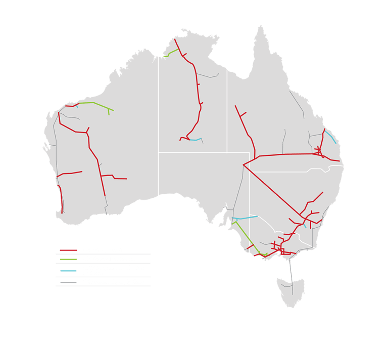 APA's gas pipeline network (in red) accounts for the majority of the nation's gas transport infrastructure.