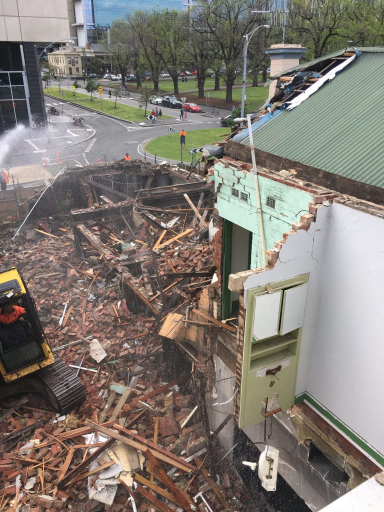 The Corkman Irish Pub in Carlton is demolished on Saturday.