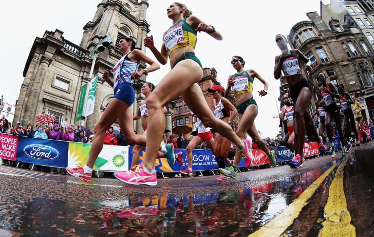 Marathon runners in Glasgow's 2014 Commonwealth Games.