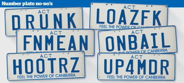 A mock-up of rejected ACT number plates.