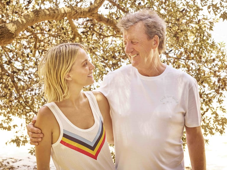 Nadia Fairfax models The Upside collection she helped design with the help of her father, Wallabies great Russell Fairfax.