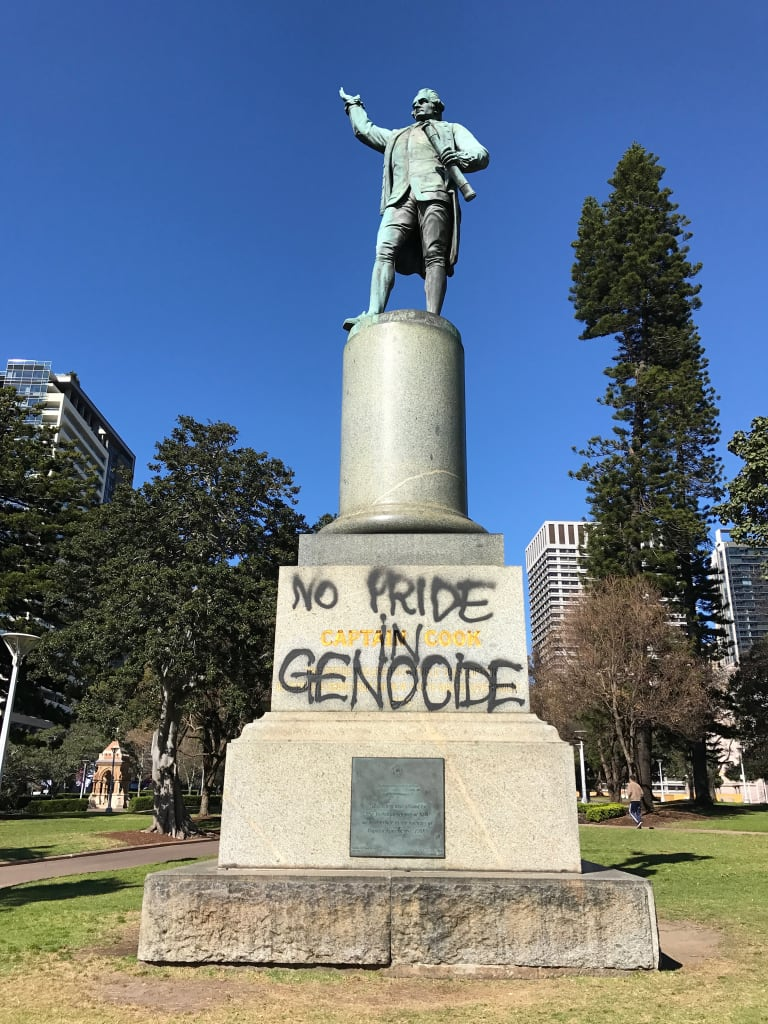 """A statue of Captain Cook in Hyde Park was painted withthe words """"Change the date"""" and """"No pride in genocide"""" last year."""