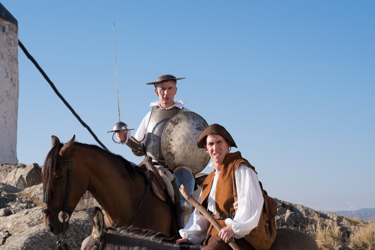 Brydon's co-star in the Trip to Spain (and two other films in the series), Steve Coogan (on the horse as Don Quixote) will feature in Brydon's tales.