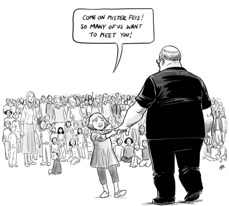 """""""Hero's Welcome"""" was drawn after the mass shooting at Marjory Stoneman Douglas High School in Florida."""