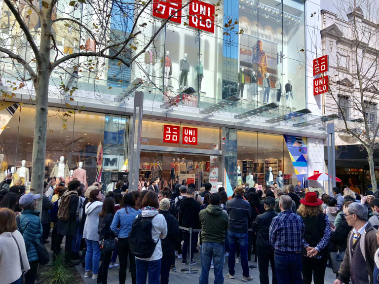 Shoppers outside the store on Thursday.