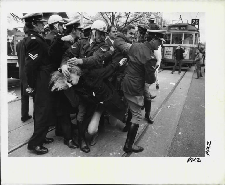 Jean McLean tangles with police at a demonstration in 1971.