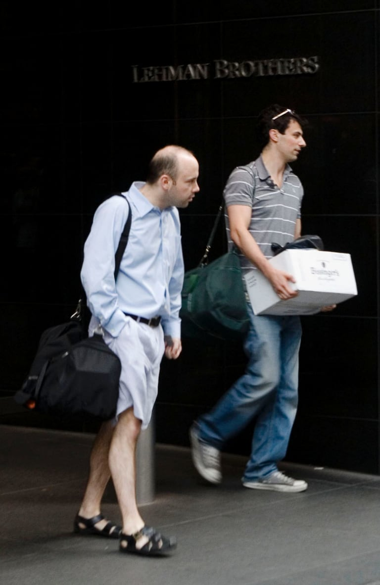 Bankers leaving Lehman's headquarters in New York on September 14, 2008. The GFC rather crushed the notion that modern markets are models of economic efficiency and value creation