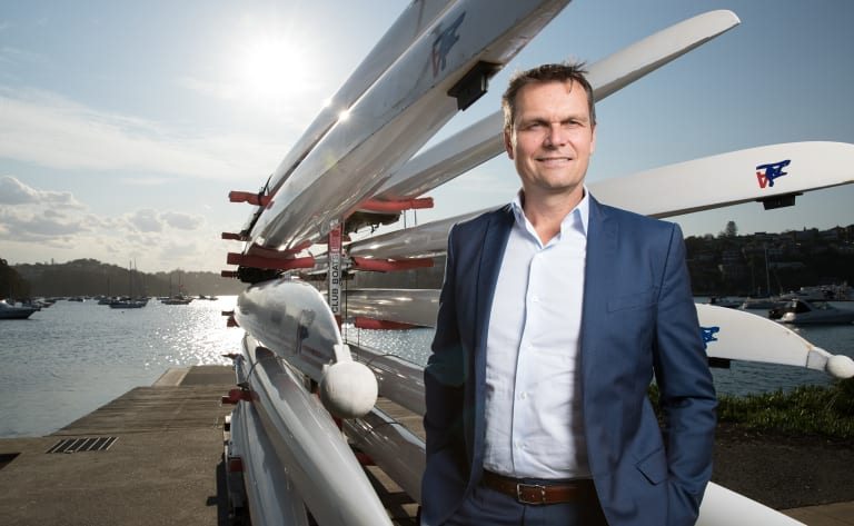 """Janusz Hooker, pictured at Mosman Rowing Club, said the population of Sydney and Melbourne would continue to grow because both cities were """"such attractive places for people to live""""."""