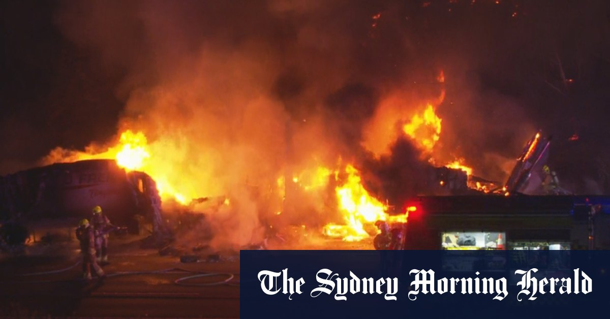 Two road workers injured in fiery truck crash – The Sydney Morning Herald