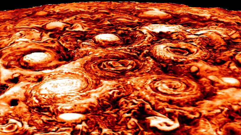 New images snapped by probe orbiting Jupiter reveal cluster cyclones