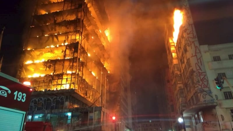 Image result for Building in Sao Paulo collapses during fire, victims unknown